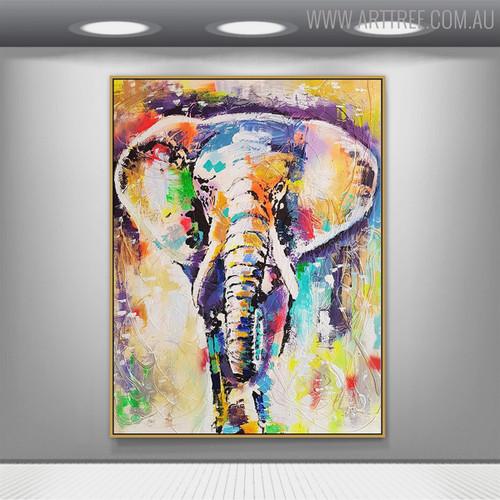 Elephant Abstract Animal Modern Handmade Canvas Portraiture for Interior Design