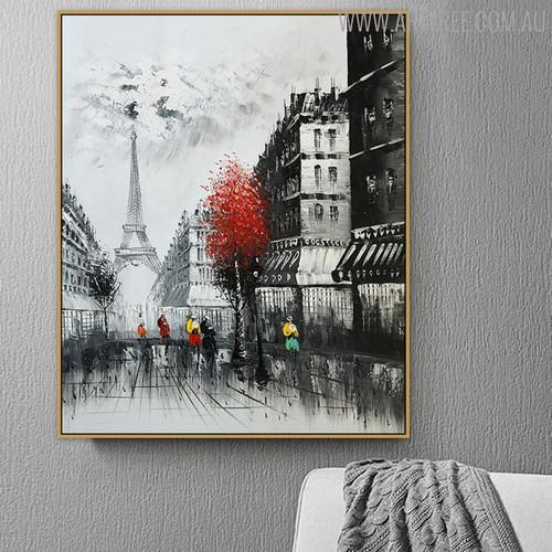 Eiffel Tower Scene Texture Handmade Oil Cityscape Likeness for Home Wall Getup