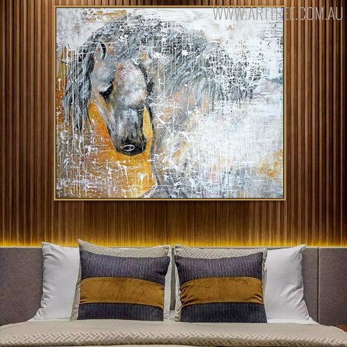 White Horse Face Modern Handmade Canvas Portraiture for Animal Head Wall Decor