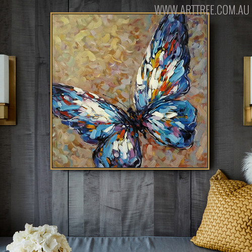 Colorific Butterfly Animal Modern Heavy Texture Knife Artwork for Wall Hanging Decor