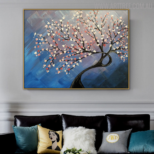 Cherry Blossom Tree Floral Texture Handmade Oil Resemblance on Canvas for Living Room Wall Drape