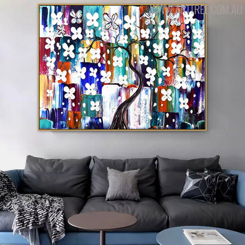 White Flowers Tree Floral Modern Heavy Texture Knife Portrayal for Interior Wall Decoration