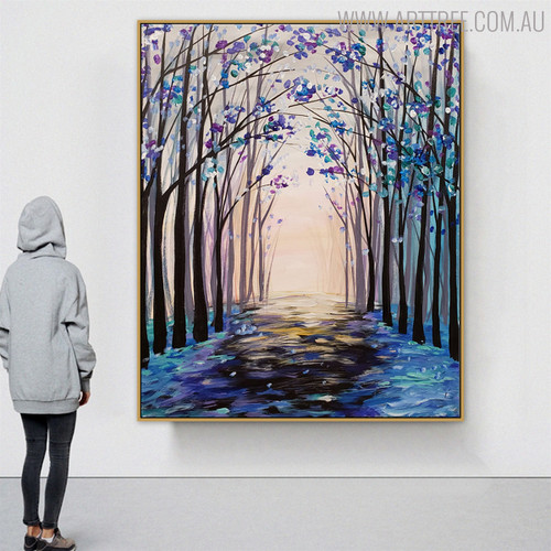 Beautiful Forest Modern Landscape Texture Oil Painting on Canvas for Floral Decoration on Wall