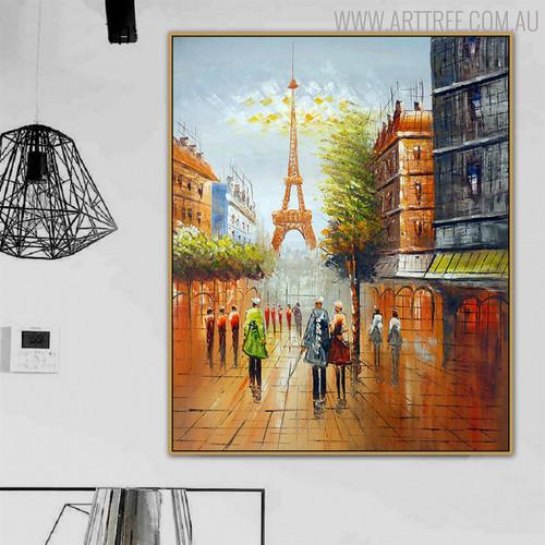 Paris Cityscape Texture Handmade Oil Scheme for Modern Interior Design