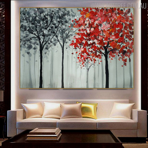 Foliage Floral Handmade Palette Knife Vignette for Lounge Room Wall Onlay