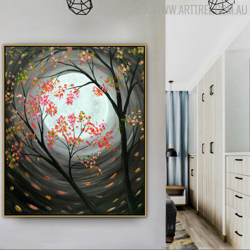 Nightscape Framed Texture Handmade Nature Painting for Interior Decoration