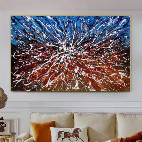 Color Splash Abstract Modern Handmade Oil Likeness for Living Room Wall Ornamentation