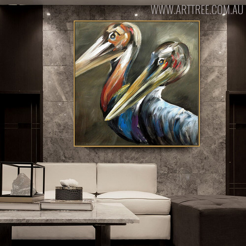 Two Pelican Birds Animal Modern Handmade Oil Vignette on Canvas for Wall Decoration