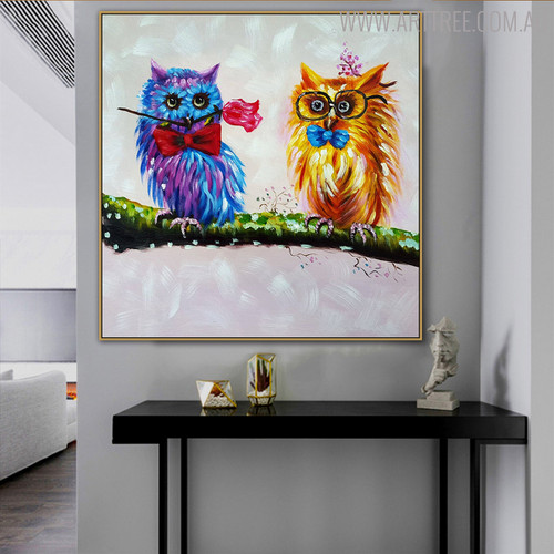 Two Owls Birds Animal Modern Handpainted Canvas for Interior Decoration