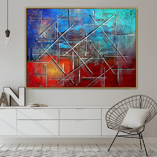 Long Lines Abstract Modern Texture Handmade Canvas Art for Home Wall Decor