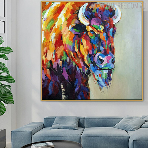 Yak Animal Framed Heavy Texture Knife Portraiture for Living Room Wall Decor