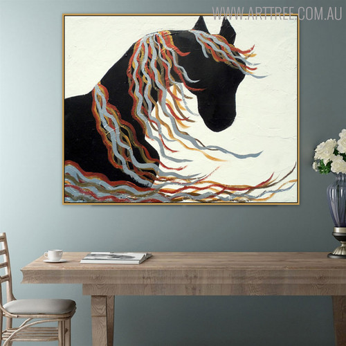 Long Hair Horse Animal Framed Texture Oil Smudge on Canvas for Dining Room Wall Getup