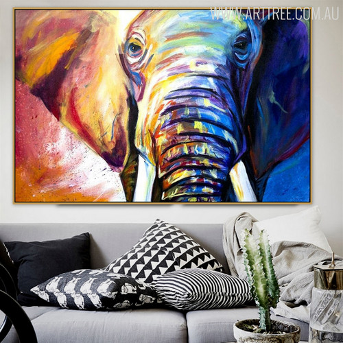 Hued Elephant Framed Handmade Animal Painting for Diy Wall Decor
