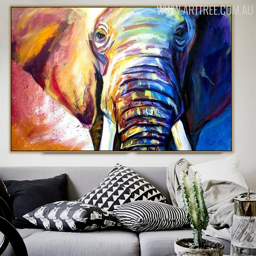Hued Elephant Framed Handmade Animal Painting for Diy Wall Decor