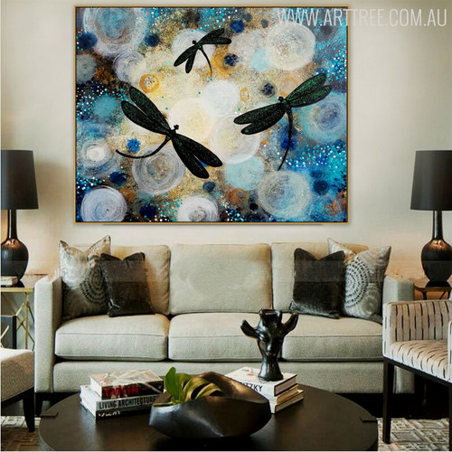 Flying Dragonflies Animal Modern Acrylic Painting for Living Room Wall Ornament