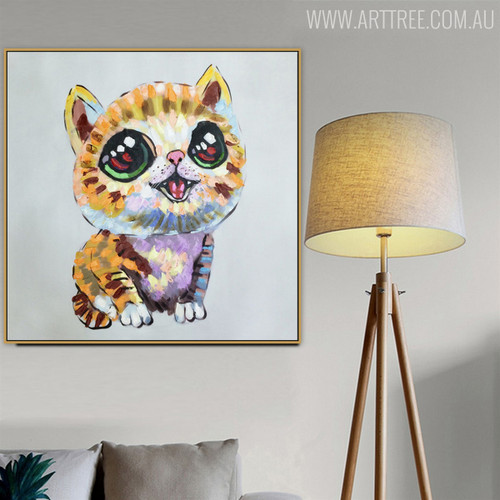Kitty Modern Texture Handmade Animal Painting for Wall Hanging Decor