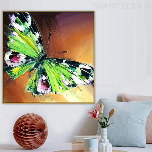 Green Butterfly Animal Modern Handmade Canvas Portrayal for Wall Adornment