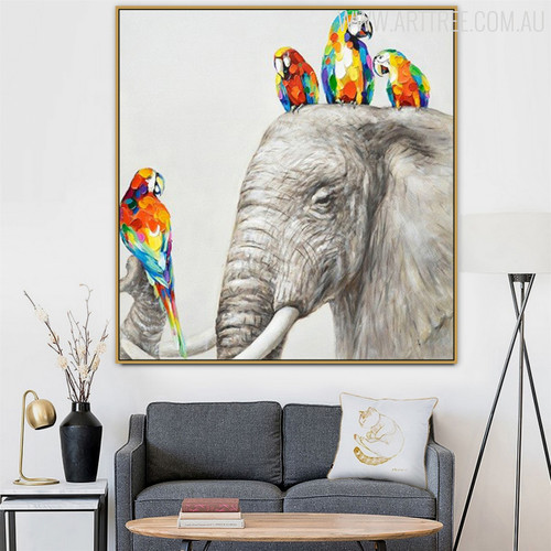 Macaws Animal Modern Heavy Texture Knife Artwork for Lounge Room Wall Finery