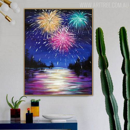 Flood Modern Nature Riverscape Texture Oil Painting for Wall Ornament