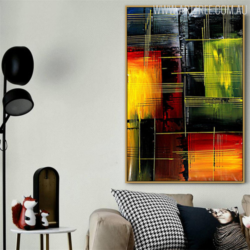 Horizontal Lines Modern Texture Acrylic Painting for Living Room Wall Outfit