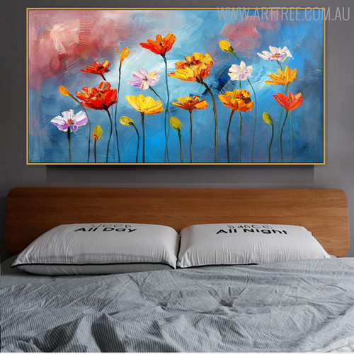 Chromatic Poppies Acrylic Portmanteau for Floral Decoration on Wall