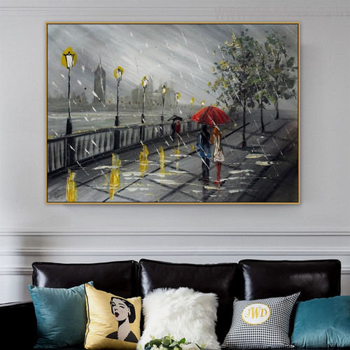 Rainfall Framed Cityscape Texture Knife Effigy for Living Room Wall Decor