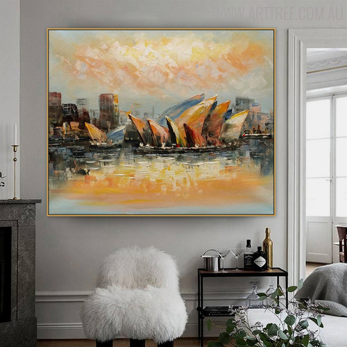 Sydney Opera House Modern Cityscape Heavy Texture Knife Smudge for Lounge Room Wall Outfit