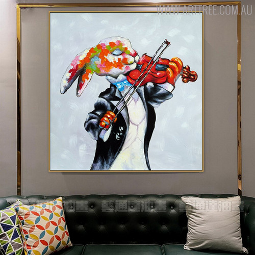 Violin Animal Modern Heavy Texture Palette Knife Scheme for Living Room Wall Adornment