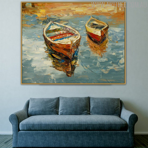 Wooden Boats Framed Abstract Knife Portmanteau on Canvas for Living Room Wall Adornment
