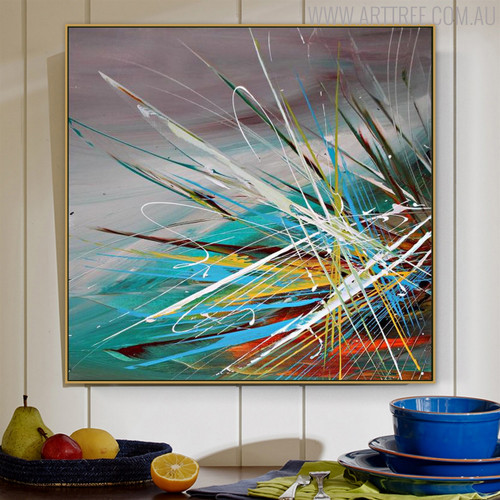 Random Lines Abstract Framed Heavy Texture Handmade Oil Resemblance for Wall Ornament