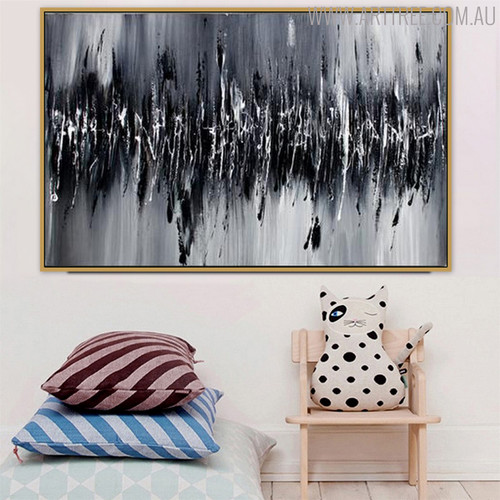Scratches Effect Abstract Modern Heavy Texture Oil Smudge on Canvas for Living Room Wall Decor