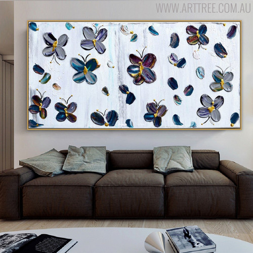 Little Butterflies Animal Framed Heavy Texture Handpainted Canvas for Living Room Wall Getup