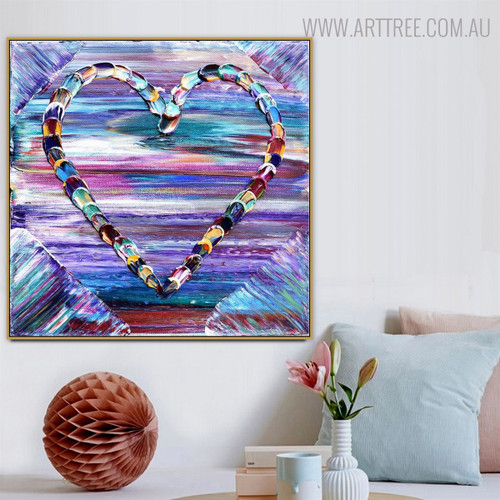 Dapple Heart Abstract Modern Heavy Texture Knife Portraiture for Wall Hanging Decor
