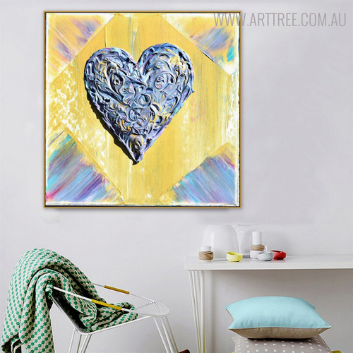 Creative Heart Abstract Modern Heavy Texture Handmade Canvas Art for Living Room Wall Outfit