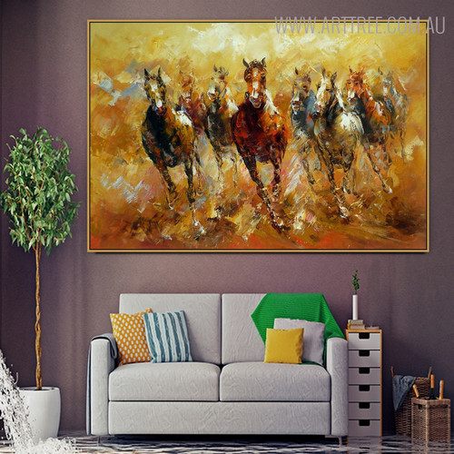 Horse Race Abstract Animal Framed Heavy Texture Knife Portrayal for Room Wall Garniture