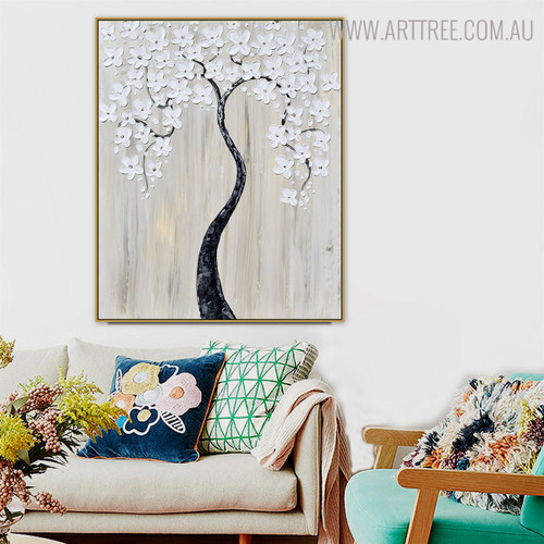 Shot Bismuths Modern Heavy Texture Handmade Floral Smudge for Home Wall Decor
