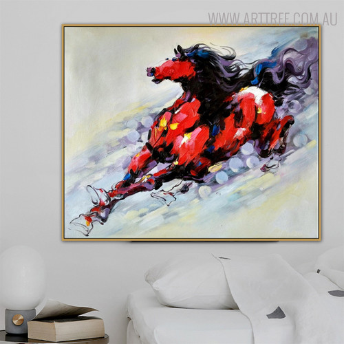 Lovely Horse Animal Abstract Modern Knife Portraiture on Canvas for Living Room Wall Decor