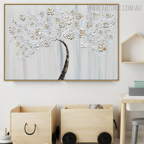 Flowers with Leaves Floral Framed Heavy Texture Handmade Oil Paintings on Canvas for Kids Room Wall Onlay