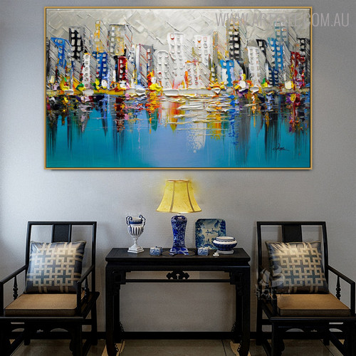 Land Framed Abstract Cityscape Heavy Texture Knife Artwork for Home Wall Outfit