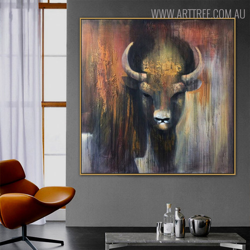 Bull Animal Modern Heavy Texture Handmade Oil Portmanteau on Canvas for Living Room Wall Adornment