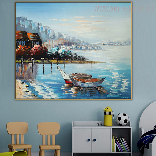 Coast Modern Seascape Nature Palette Knife Effigy for Kids Room Wall Decor