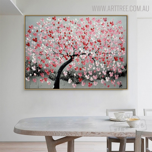 Red Flower Arbor Floral Modern Heavy Texture Knife Portraiture for Dining Room Wall Drape