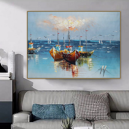 Three Ships Nature Seascape Heavy Texture Knife Painting on Canvas for Living Room Wall Garniture