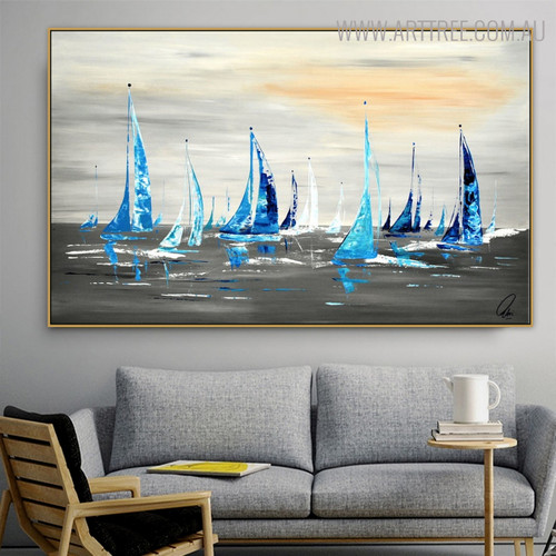 Sailboats Abstract Framed Nature Seascape Heavy Texture Palette Knife Portmanteau for Lounge Room Wall Molding