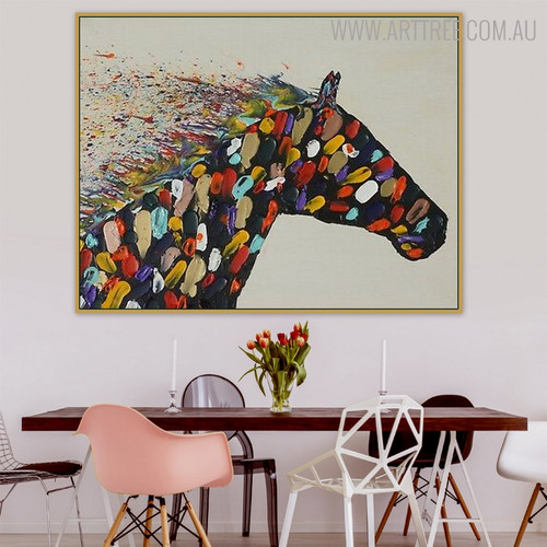 Horsy Face Animal Modern Bold Texture Knife Vignette on Canvas for Dining Room Wall Decor