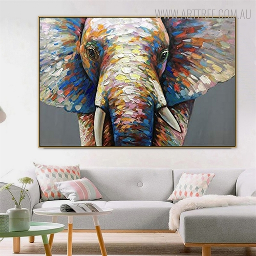 Jumbo Framed Animal Bold Texture Palette Knife Painting for Room Wall Equipment
