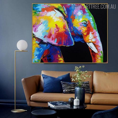 Jumbo Mug Animal Framed Heavy Texture Knife Artwork for Living Room Wall Decor