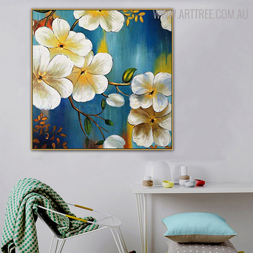 Plumeria Floral Modern Bold Texture Handmade Oil Likeness on Canvas for Room Wall Ornamentation