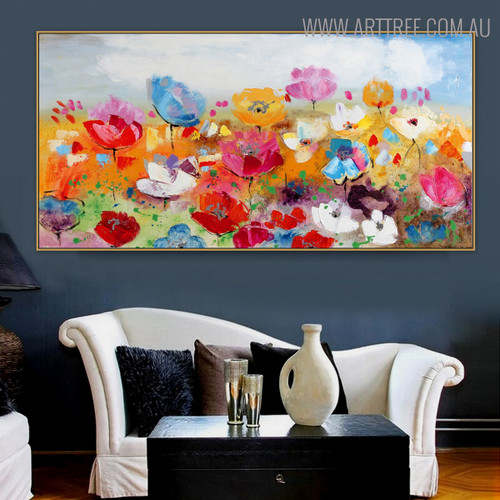 Calico Blooms Floral Modern Bold Texture Acrylic Painting for Room Wall Drape