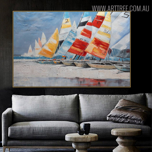 Chromatic Sailboats Abstract Framed Seascape Handmade Nature Painting for Lounge Room Wall Onlay